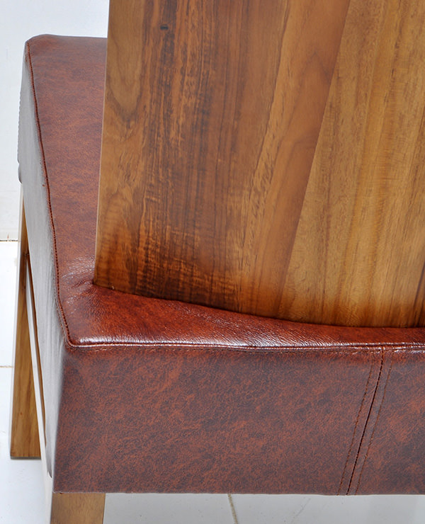 solid teak and genuine leather