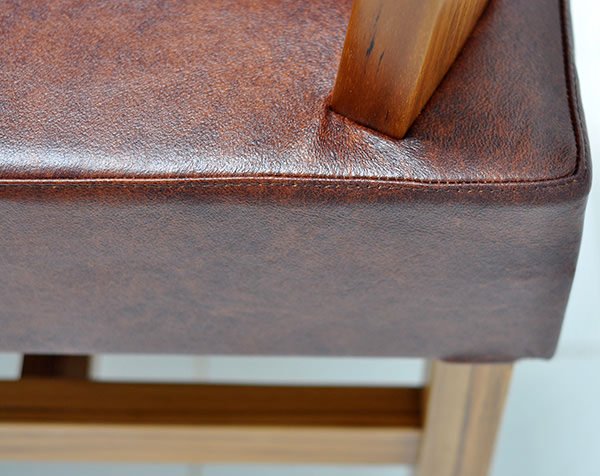 solid teak and genuine leather with vintage finish
