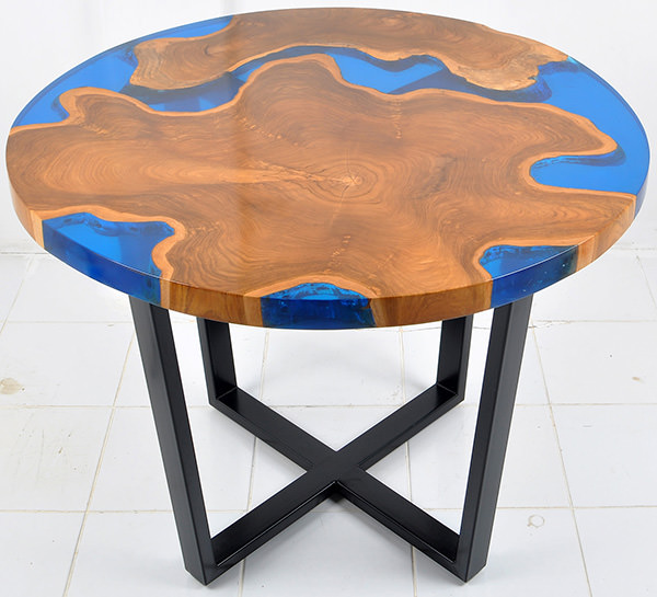 natural teak and resin round table