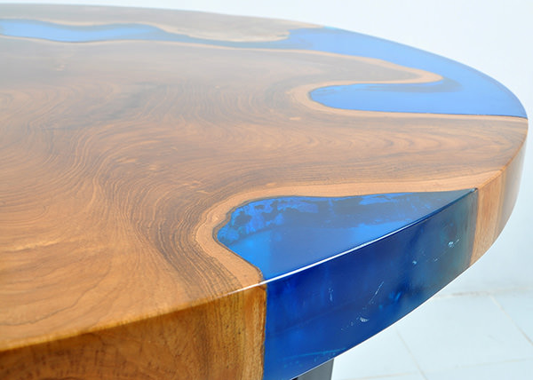 resin and teak table