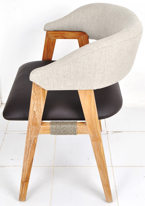 dining chair with leather seat and linen backseat
