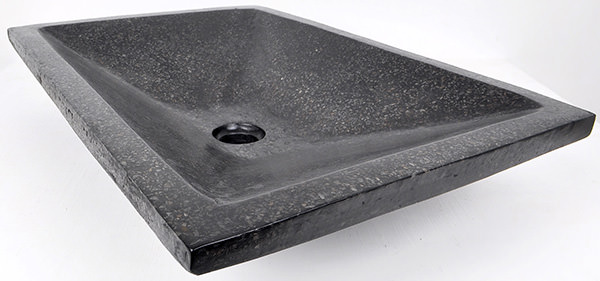 black stone terrazzo glossy basin