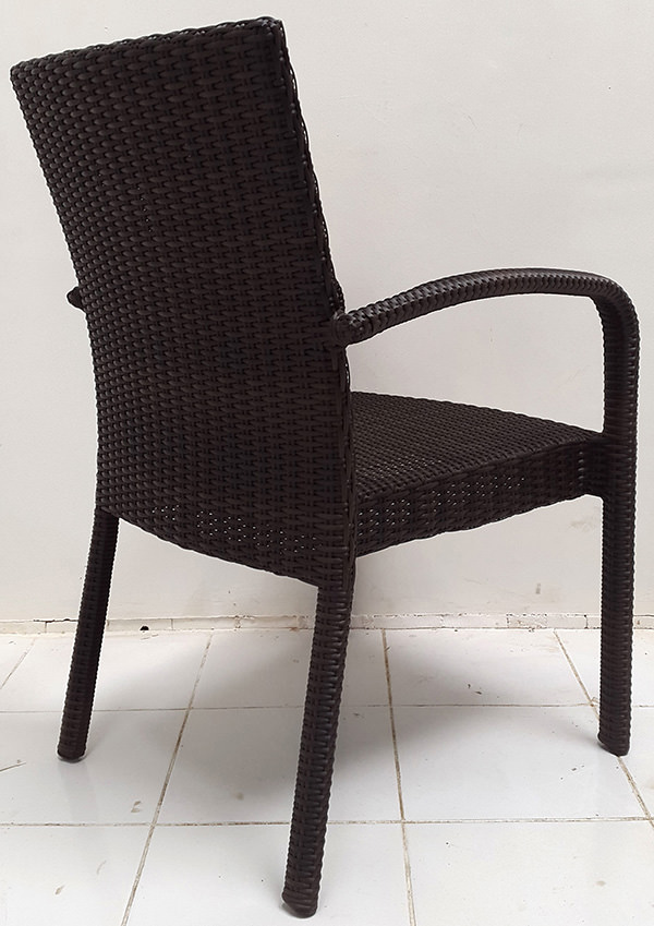 black synthetic rattan armchair with Viro wicker
