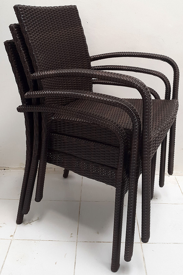 stacking black synthetic rattan armchair with Viro wicker