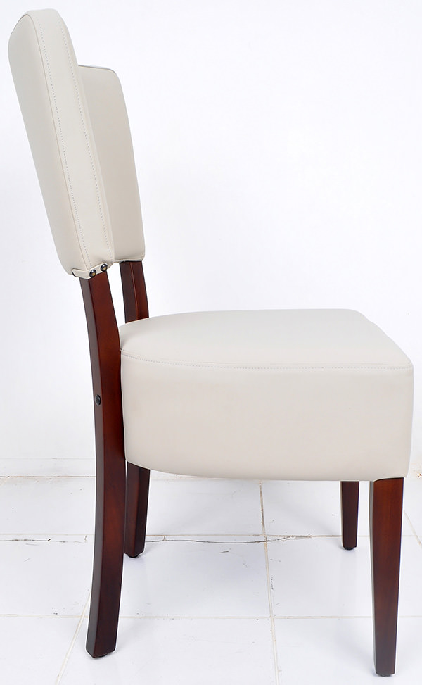 french bistro chair from grey leather and dark brown mahogany