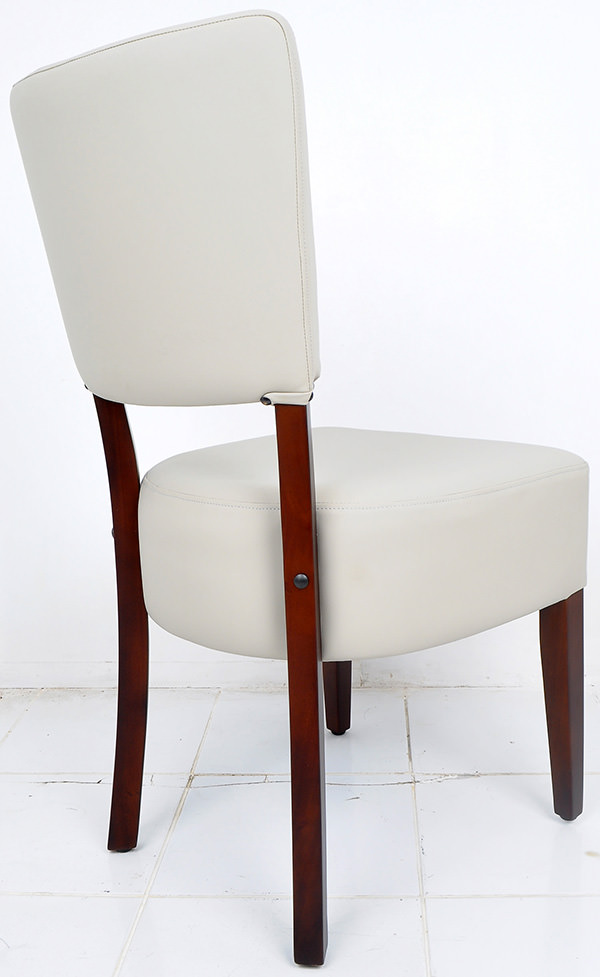 french bistro restaurant chair from grey leather and dark brown mahogany