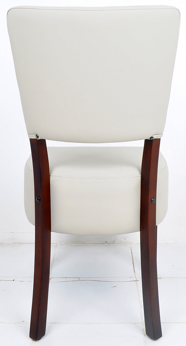 french bistro restaurant chair from light grey leather and dark brown mahogany