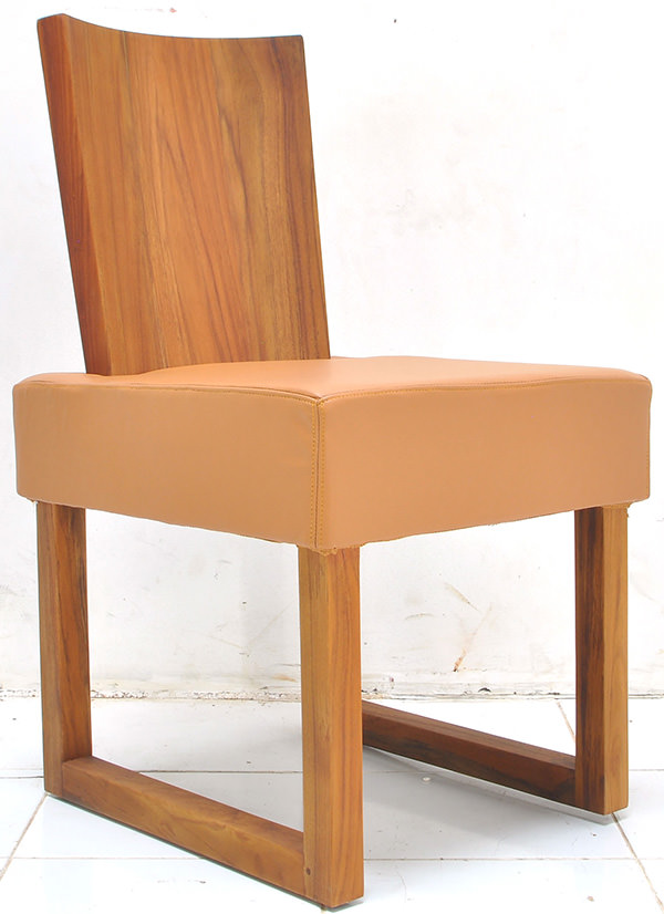solid teak and genuine leather with square seat