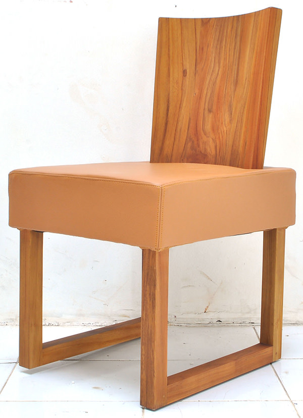 Scandinavian chair from solid teak and genuine leather with square seat