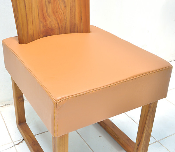 Scandinavian teak wood and leather chair