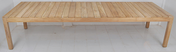 outdoor teak wooden table with natural finish