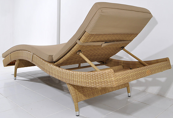 synthetic rattan lounge chair with outdoor cushion