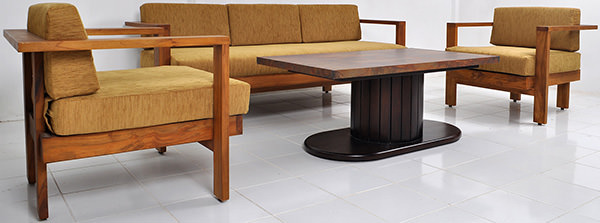 teak and yellow linen sofa set with vintage copper coffee table