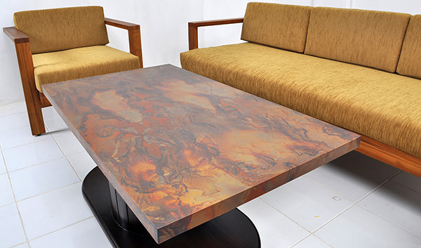 Scandinavian couch set with copper table