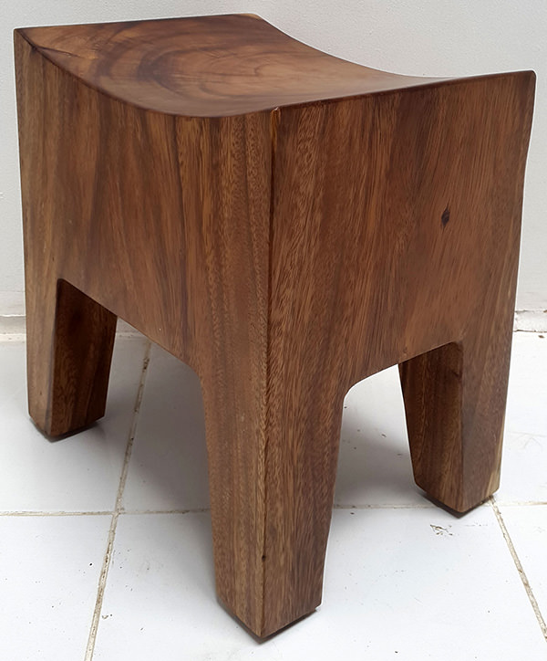curved wooden stool