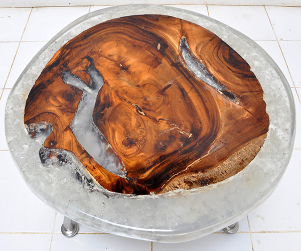round solid teak root and resin table
