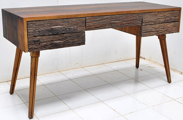 teak desk table with recycled drawers