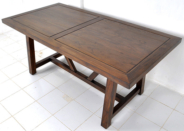 indoor teak square restaurant table with brown stain