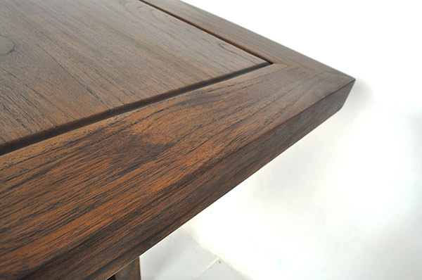 indoor teak square restaurant table with brown stain and smooth sanding