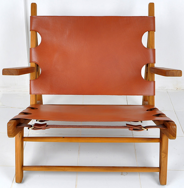 teak and leather chair
