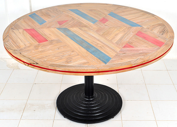 teak dining table with solid paint