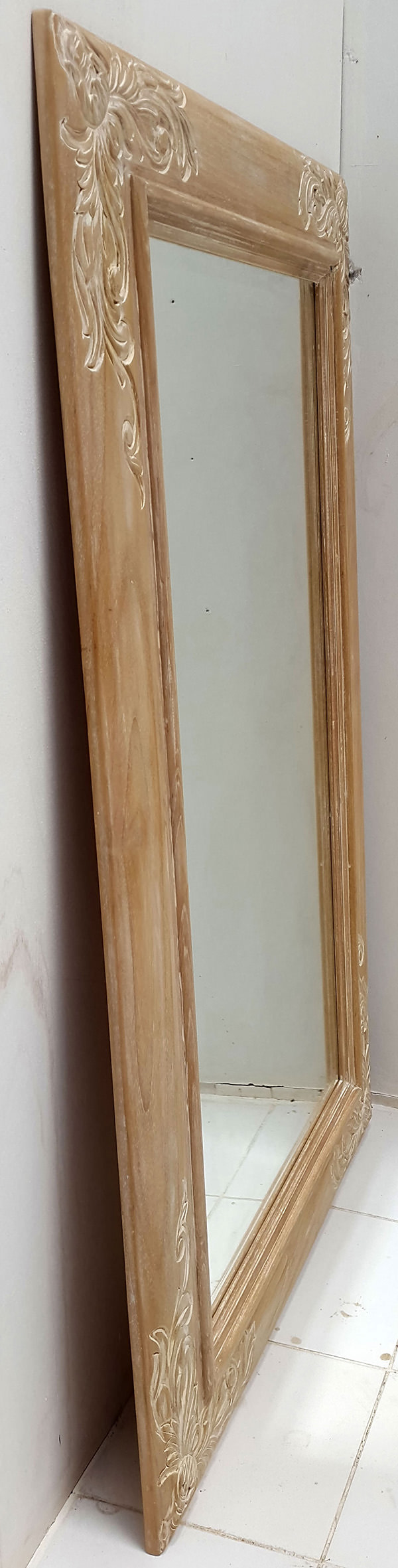 teak wood carved mirror frame