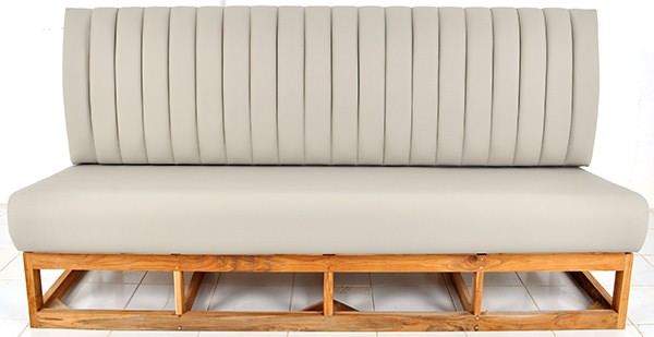 restaurant banquette with tubular backseat