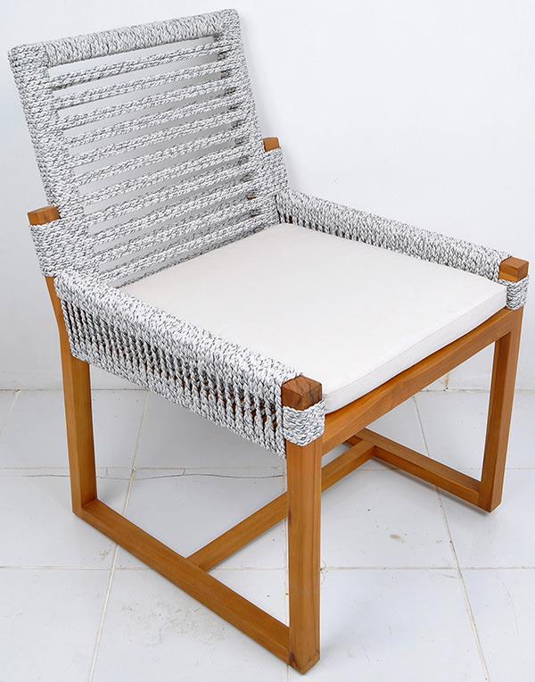outdoor teak and rope Scandinavian furniture