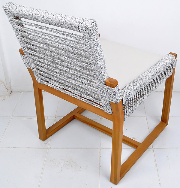 outdoor teak and rope Scandinavian furniture with cushion