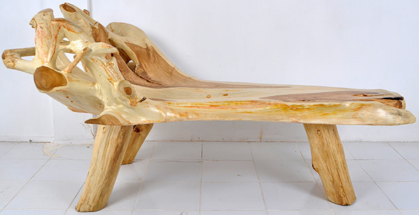 teak root bench with natural shape