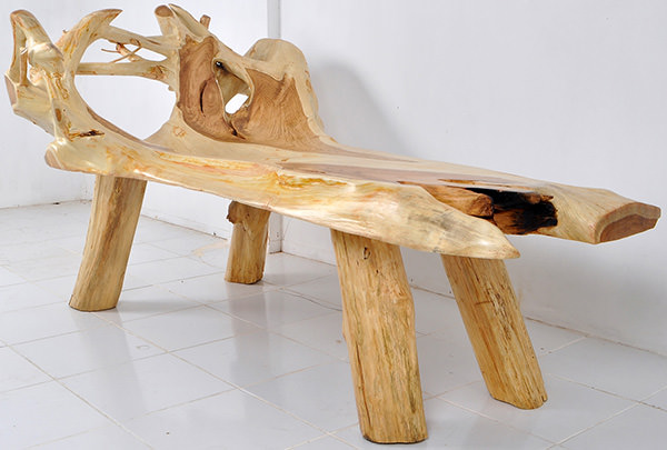 teak root bench with natural shape and free edges