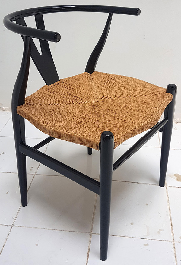 Scandinavian rattan and wooden chair