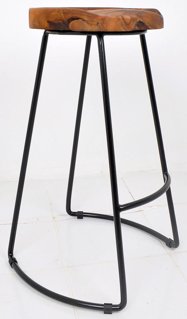 Iron and teak root bar stool