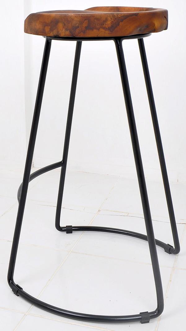 Iron and teak root Scandinavian bar stool