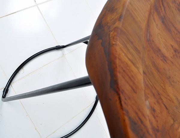 iron and teak stool
