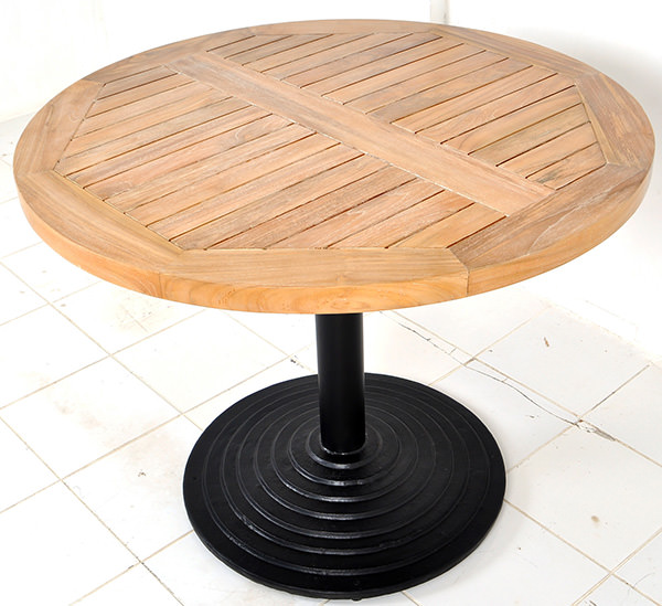 teak round restaurant table with central iron leg