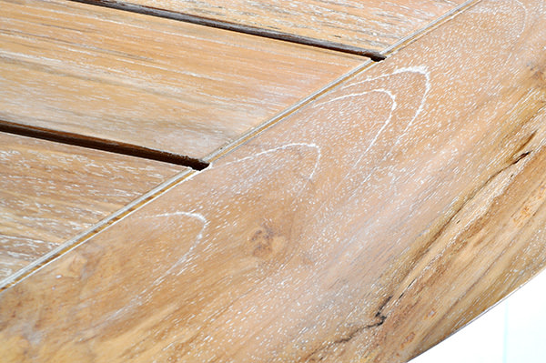 teak table top with white washed finish