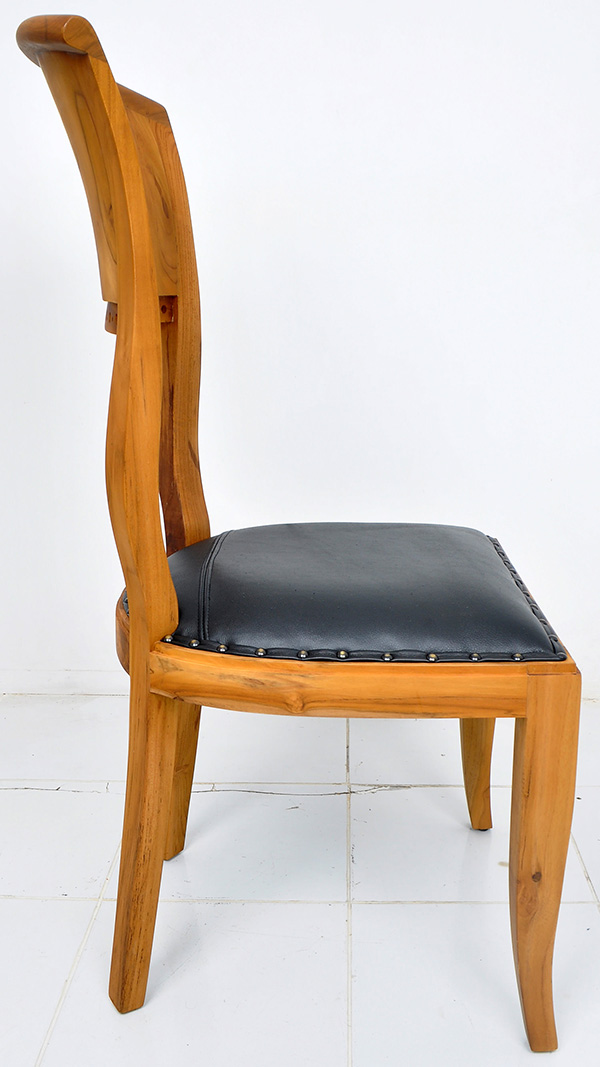 teak and black leather chair