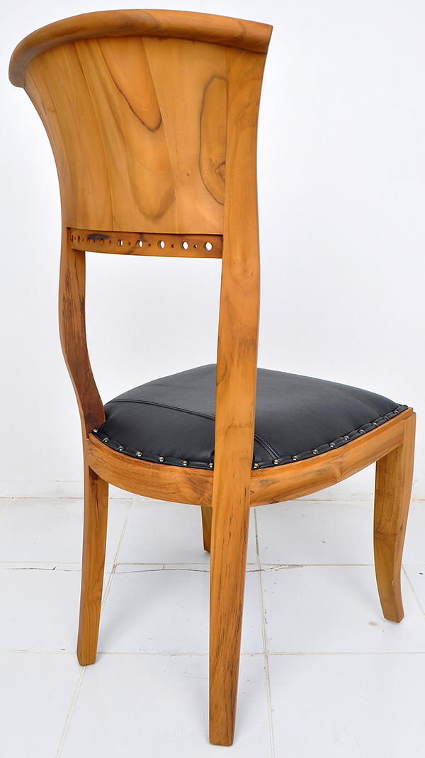 natural teak and black leather chair
