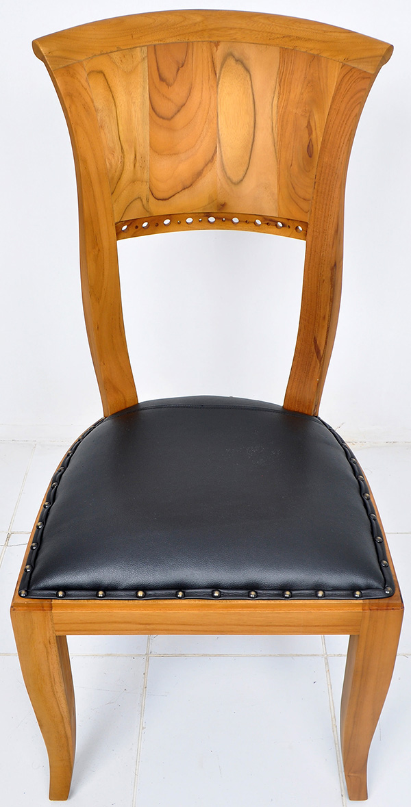natural stainteak and black leather chair