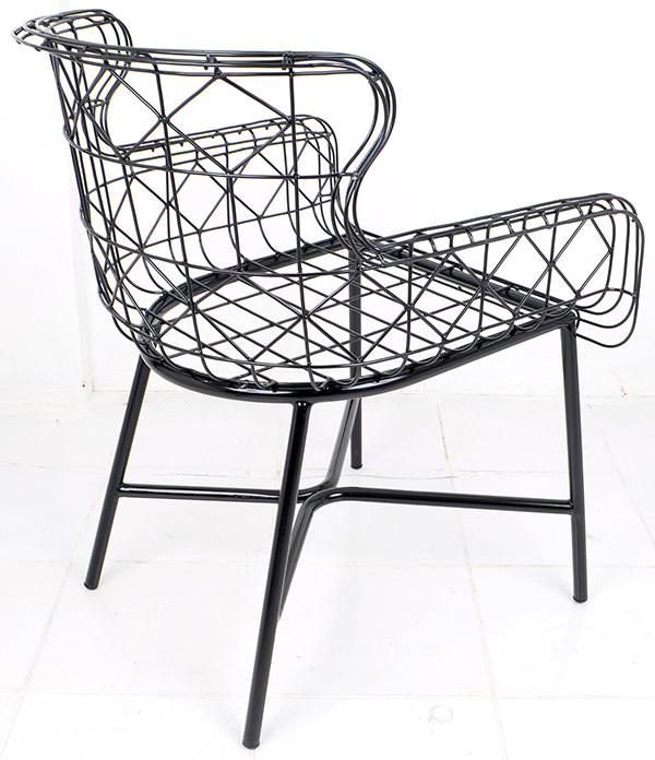 Black iron wire Danish armchair