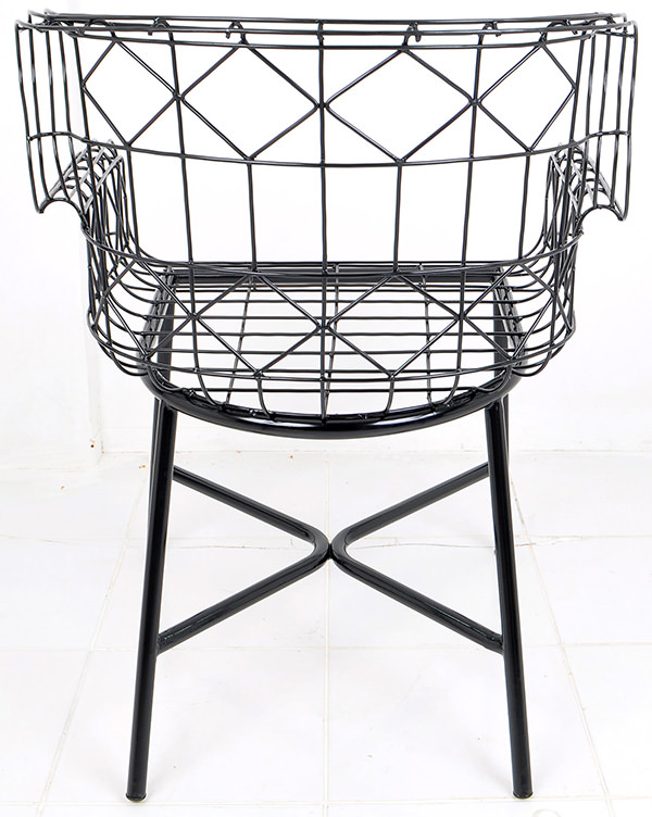 Black anti rust iron wire Danish armchair