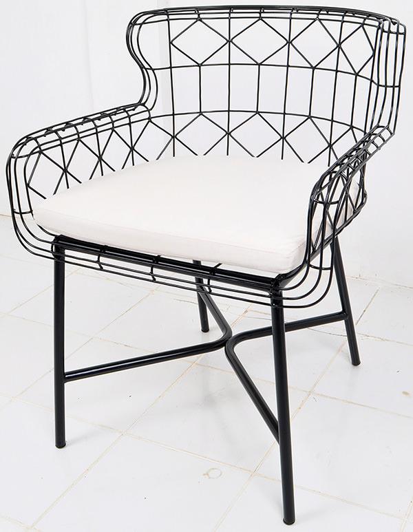 Black anti rust iron wire Danish armchair with cushion