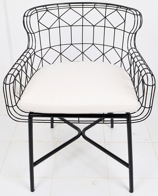 Black anti rust iron wire Danish armchair with white outdoor cushion