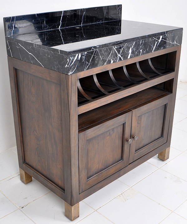 teak serving station with marble top