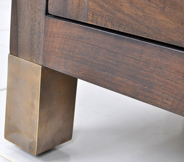 teak serving station with marble top and golden brass feet
