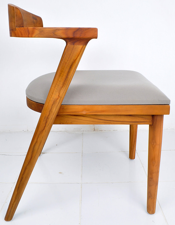 Danish chair with teak wood and linen cushion
