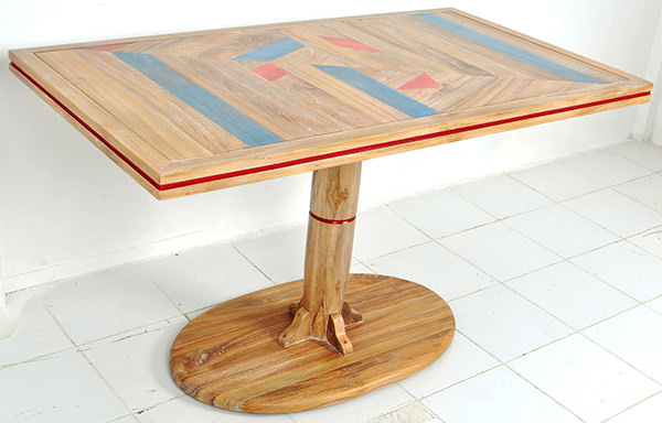 restaurant table with geometric lamination