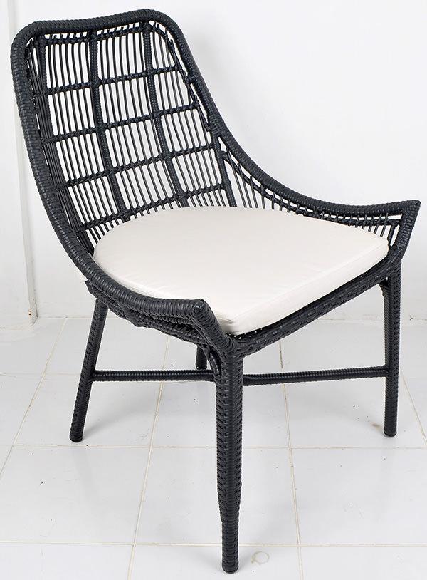 Aluminium and black synthetic rattan furniture