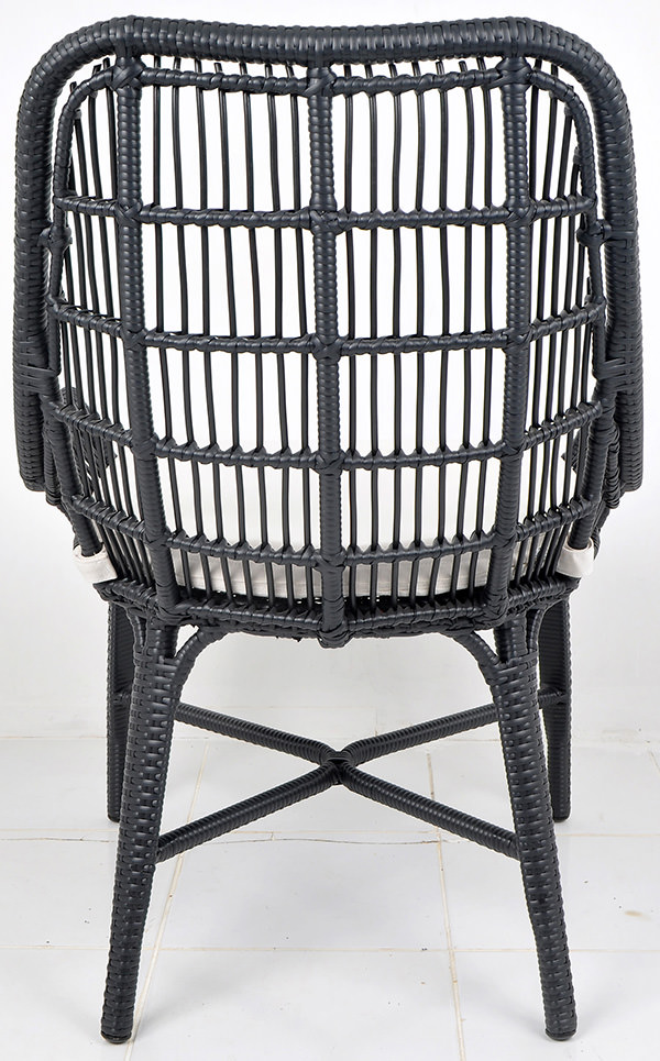 Aluminium and black synthetic rattan furniture with weatherproof cushion